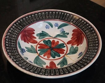 Nimy Gaudy  Stick Splatter/Spongeware Bowl/Black Rim/ Made in Belgium/ Hand Painted