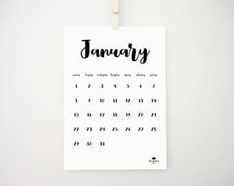 Sweet Printable Calendar, 2018 Calendar, 2018 Planner, Nursery Decor, Boy Room Decor, Girl Room Decor, Monthly Calendar, Student Gift, PDF