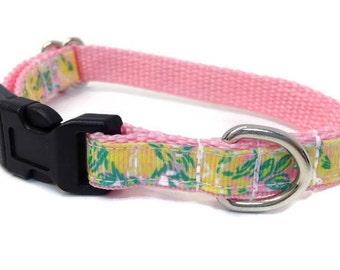 Extra Small dog collar,  pink floral dog collar, Toy Dog collar, Chihuahua dog collar, tiny dog collar, girl dog collar