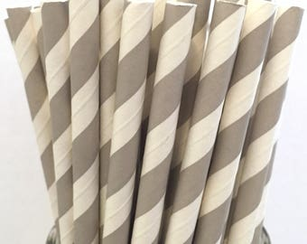 2.85 US Shipping -Gray Paper Straws - Gray Straws - Gray Cake Pop Sticks - Drinking Straws
