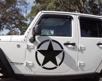 JK Front Door 19in Vinyl Military Star