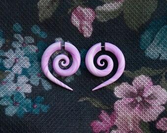 Spiral fake gauge earrings pink fake plugs fake gauges