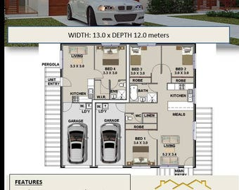 DUAL KEY DESIGN | 4 Bed dual key house plans for sale | 3 X 1 Bedrooms Duplex Design | 153 m2 | 1646 sq feet | 16.4 sq