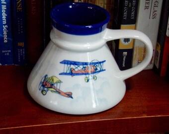 Aviation Mug, Vintage Airplane Mug, 1980s Antique Biplane Cup