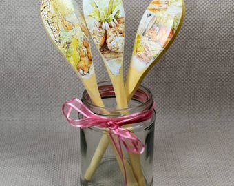 Flopsy Decoupaged Spoons, Peter Rabbit, New Baby Gift, Baby Shower Gift, Peter Rabbit Nursery, Beatrix Potter, Set of 3