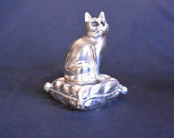 Silver Plated Cat on a Pillow Statue Paperweight or Object d'Arte