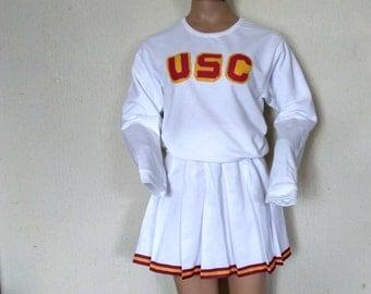 USC Sweatshirt & Skirt Kids Adult Cheerleader Uniform Football Game Halloween Christmas Costume