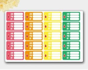 Diabetes Stickers, Diabetic Blood Sugar Tracker, Diabetes Planner Stickers