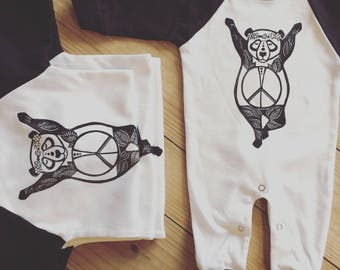 Hippie Romper, Panda jumpsuit, White/Black onepiece, Bohemian romper, Gender neutral gift, Peace baby, Zen baby, Hipster baby, READY TO SHIP