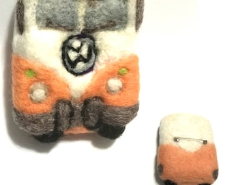 V W Kombi Van Brooch, Designer Brooch, Needle Felted Brooch, Versatile Pendant Brooch or Fridge Magnet Needle Felted Jewellery