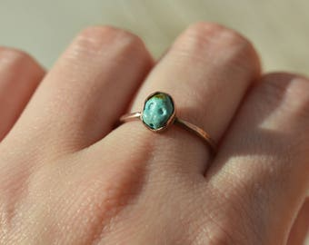 Casper Ring, carved turquoise and copper ring, statement ring, Casper the friendly ghost, pastel blue, baby face, tiny, handmade