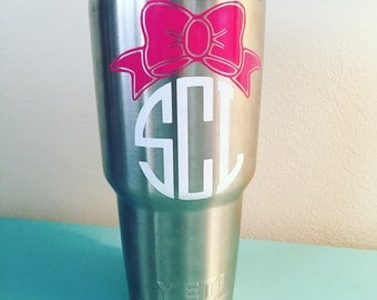 Circle Monogram with Bow Decal