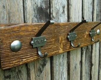 Vintage Industrial GWR Coat Hooks Rustic Coat Rack Reclaimed Wood Furniture (3 hooks 50cm)
