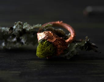 7.25/ Lichen Quartz Crystal Forest Fairy Elven Electroformed Copper Ring