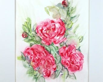 Abstract Watercolor, Original Watercolor, Peony Watercolor, Peonies Original Painting, Home Decor, Living Room Decor, Bedroom Decor