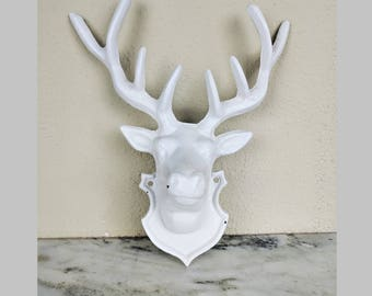 Vintage Cast Iron White Stag Head Wall Decor, Deer Hunting Faux Taxidermy  Mount Trophy,