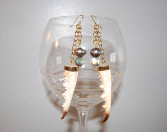 Genuine crab claw dangle earrings, with abalone and freshwater pearls