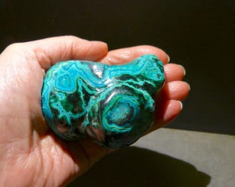 Azurite - Malachite, 3'' inches, Palm Stone, blue, green, XL, polished, top quality, top color, azurite, malachite, undyed, gift, genuine