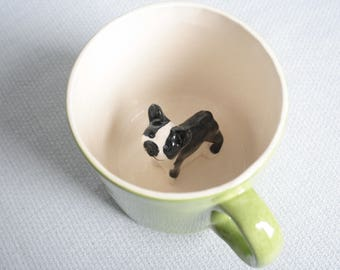 Mug ceramic green coffee cup with boston terrier dog - tiled puppy animal figurine miniature surprise