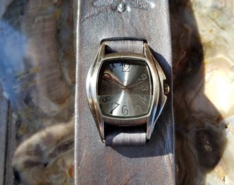 Beautiful Pewter Colored Leather Cuff Watch with Embossed Dragonflies