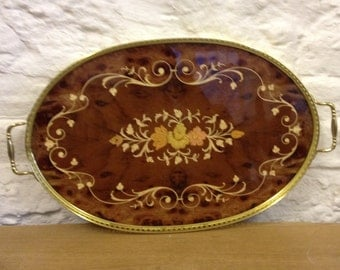 Vintage Inlaid Marquetry Serving Tray By Gabriella Via Tasso 10 With Brass Frame & Handles - Made In Sorrento, Italy.