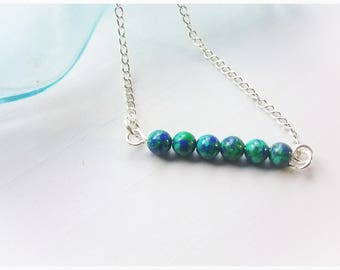 SALE,Blue Picture Jasper,Bead Bar,Choker,Gemstone,Necklace,Simple,Minimalist,Dainty,Unique,Pretty,Casual,Elegant,Stone Beads,Woods,Swirls