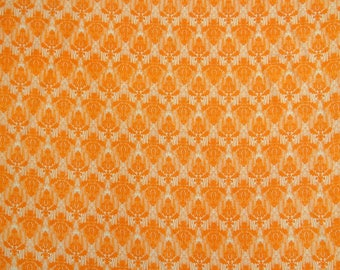 """Damask Cotton Fabric, Orange Fabric, Sewing Material, Designer Fabric, 44"""" Inch Home Decor Fabric By The Yard ZBC8744A"""