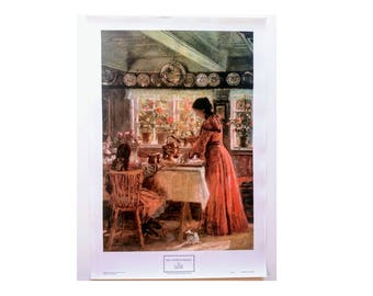 "14x20 VINTAGE Unframed Canvas Art Print ""The Coffee Is Poured"" by L. Tuxen  (1853-1927), Coffee Art, Turn Century, Woman Pour Coffee"