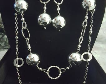 Silver Ball Necklace and Earrings
