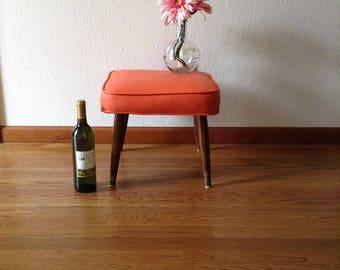 Vintage Orange Stool, Mid Century Modern Stool, Upholster Stool, Square Stool, Bench, Ottoman
