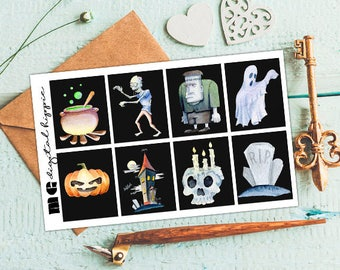 Halloween full box stickers Erin Condren full box stickers Planner full box stickers Halloween stickers Erin Condren planner full boxes