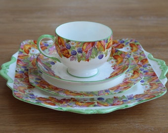 Royal Paragon tea trio and cake plate set