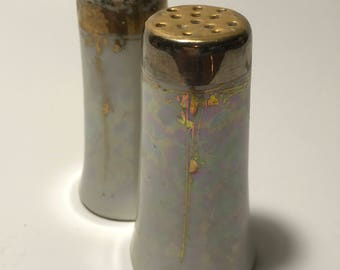 VTG Cloud Iridescent S&P Shakers w/ High Luster and Painted Gold Detail