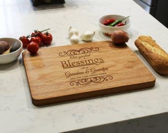 Personalized Cutting Board, Custom Cutting Board, Engraved Cutting Board, Monogrammed Cutting Board, Custom Wedding Gift --CB-MAH-BLESSINGS