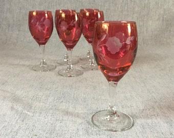 Vintage Cranberry Flash Etched Floral Cordials, Set of 6
