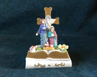 Vintage Christian Figurine, Nativity and Cross on Ceramic Bible