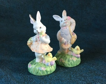 Vintage Pair of Bisque Easter Bunny Figurines