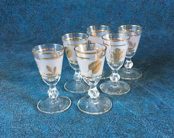 Vintage Libbey Rock Sharpe Golden Foliage Cordials, Set of 6, Gold Leaf Glassware, Mid Century Barware