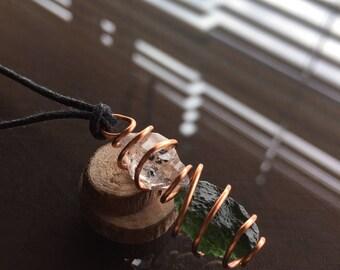 Moldavite and Herkimer Diamond Necklace, Moldavite Necklace