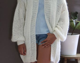 Oversized Chunky Knit Cardigan, Loose Knit, Slouchy/ Bulky/ Loose Knit Women Sweater/ Off-White Alpaca Mohair Wool Sweater
