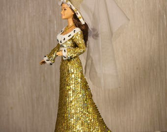 Barbie clothes Barbie sequins Elizabeth Woodville dress Medieval Burgundian White Queen doll Handmade crochet historical gown