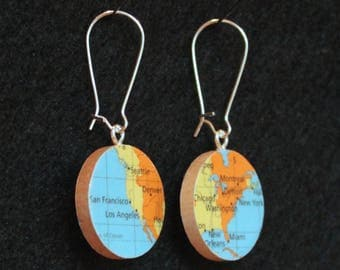 United States Map Handmade Recycled Map Earrings