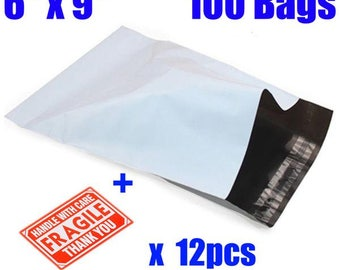 "100  6x9"" White-Gray Self Adhesive, Waterproof, Tear proof Poly Mailers"