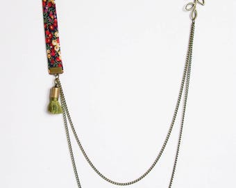 Liberty double chain shades red, green and yellow and green tassel necklace