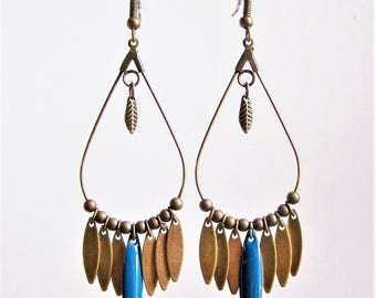 Dangle drop earrings and peacock blue navette