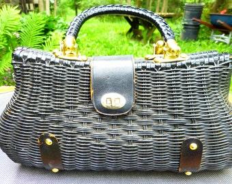 Vintage Black rattan Handbag made in Hong Kong