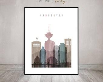 Vancouver art print, Poster, Travel wall art, Distressed, Vancouver skyline, Canada, City art, Gift, Wall Decor, Home Decor, ArtPrintsVicky