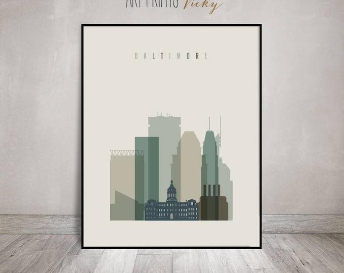 Baltimore skyline art print, Poster, Wall art, Maryland art, City poster, Typography art, Home Decor, Digital Print, ArtPrintsVicky
