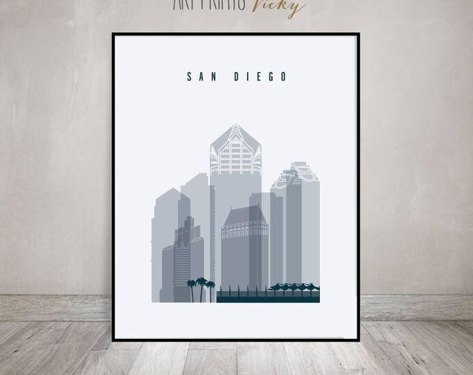 San Diego wall art, print, Poster, San Diego California skyline, City print, Wall prints, Travel, wall decor, Home Decor, ArtPrintsVicky