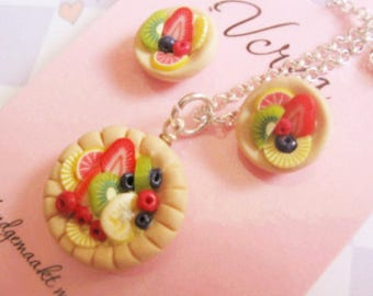 Fruit Tart Necklace and Stud Earrings Set